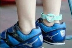 GPS locator on child's ankle